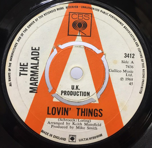 THE MARMALADE/LOVIN THINGS シングルレコード