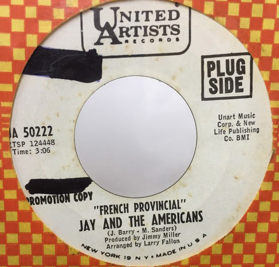 JAY AND THE AMERICANS/FRENCH PROVINCIAL シングルレコード